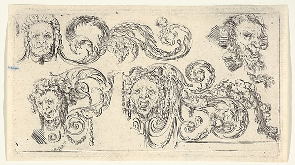 Fascinating Historical Picture of Stefano della Bella with Plate 8| four grotesque heads with scrollwork from Friezes foliage and grotesques (Frises feui in 1638