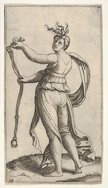 Fascinating Historical Picture of Marcantonio Raimondi with A woman representing Temperance holding a bit facing left in 1510