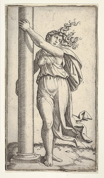 Fascinating Historical Picture of Marcantonio Raimondi with A young woman personifying Force or Strength holding a column in 1510