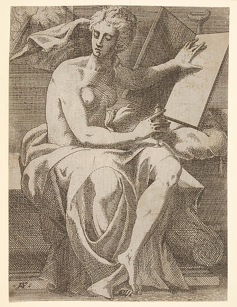 Sibyl seated before an open book upon which she rests her left hand, she twists her face away from the book and holds a vessel in her right hand