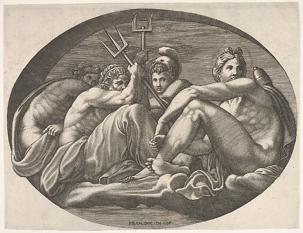 Apollo, Neptune, Pluto, and Athena seated on a cloud under an arch, an oval composition, from a series of eight compositions after Francesco Primaticcio's designs for the ceiling of the Ulysses Gallery (destroyed 1738-39) at Fontainebleau