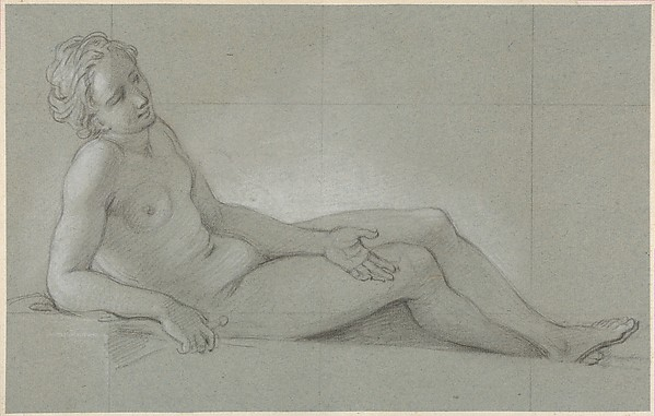 Fascinating Historical Picture of Charles Antoine Coypel with Study of a Reclining Female Nude in 1710