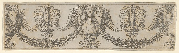 Fragment of a horizontal frieze with female bust in the center, garlands, anthemia, cut from a plate of border segments