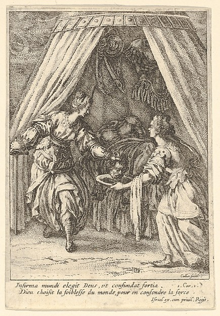 Fascinating Historical Picture of Jacques Callot with Judith placing the head of Holofernes on a tray held by an attendant with the body of Holofernes on in 1621