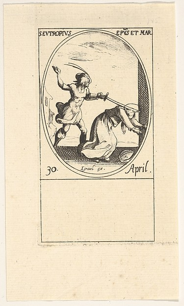 This is What Jacques Callot and Martyrdom of Saint Eutropius an oval composition from the series Les images de tous les saints et Looked Like  in 1632