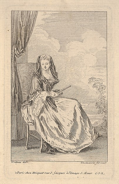 A seated woman holding a closed fan before a drawn curtain, a tree and sky beyond