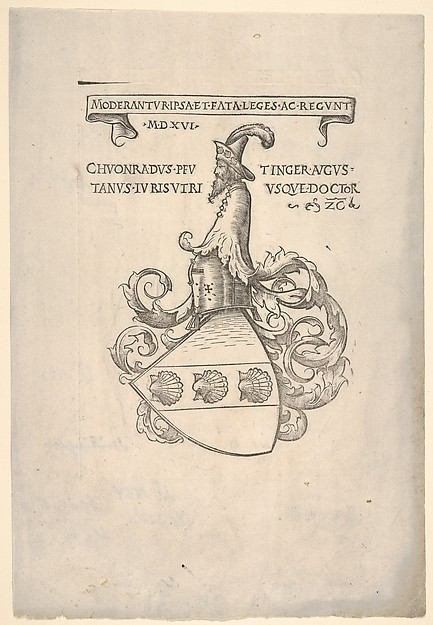 Bookplate with the coat of arms of Konrad Peutinger