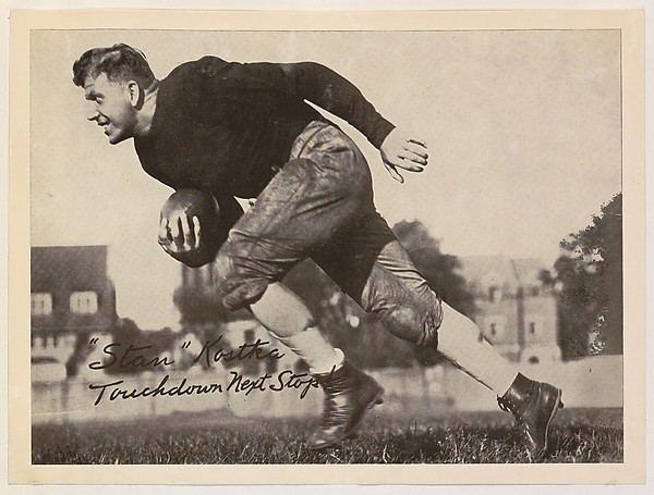 """Stan"" Kostka, Touchdown Next Stop!, from the ""Baseball and Football"" set (R311), issued by the National Chicle Company to promote Diamond Stars Gum"