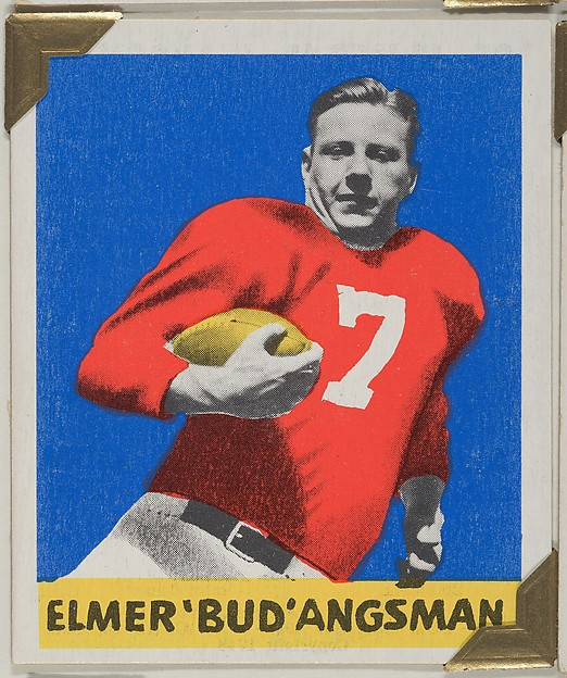 """Elmer """"Bud"""" Angsman, from the All-Star Football series (R401-2), issued by Leaf Gum Company"""