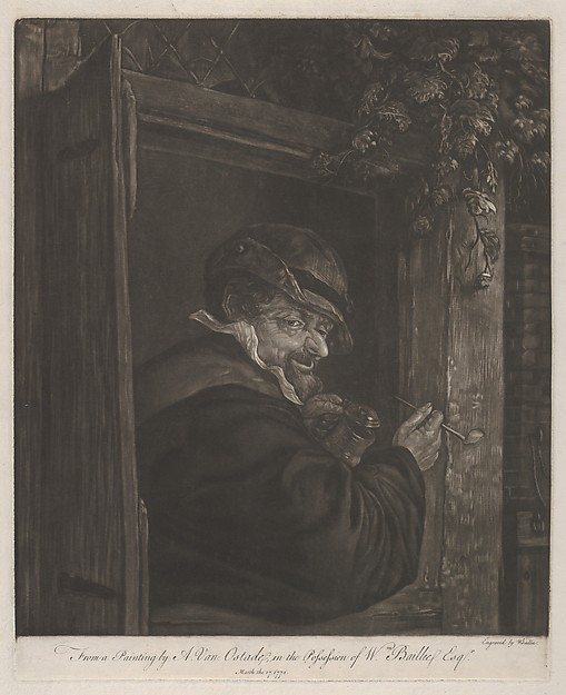 Man Smoking and Drinking at a Window