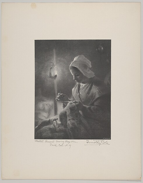 Girl Sewing by Lamplight