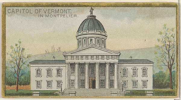 Capitol of Vermont in Montpelier, from the General Government and State Capitol Buildings series (N14) for Allen & Ginter Cigarettes Brands