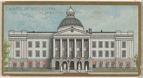 Capitol of Mississippi in Jackson, from the General Government and State Capitol Buildings series (N14) for Allen & Ginter Cigarettes Brands