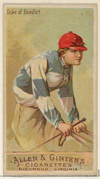 Duke of Beaufort, from the Racing Colors of the World series (N22a) for Allen & Ginter Cigarettes