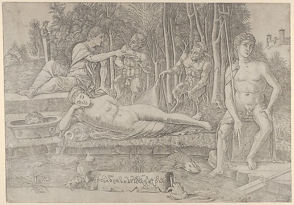 The metamorphosis of Amymone who lies in the centre leaning on her arm surrounded by Apollo at left, Neptune at right and two satyrs