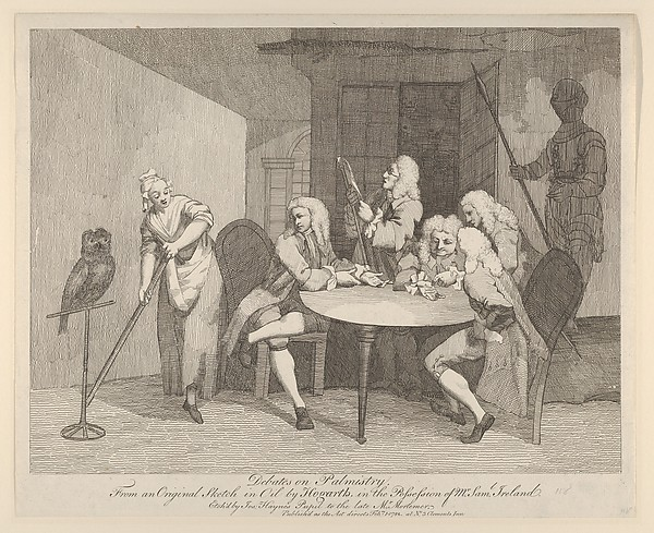 Fascinating Historical Picture of William Hogarth with Debates on Palmistry on 2/1/1782