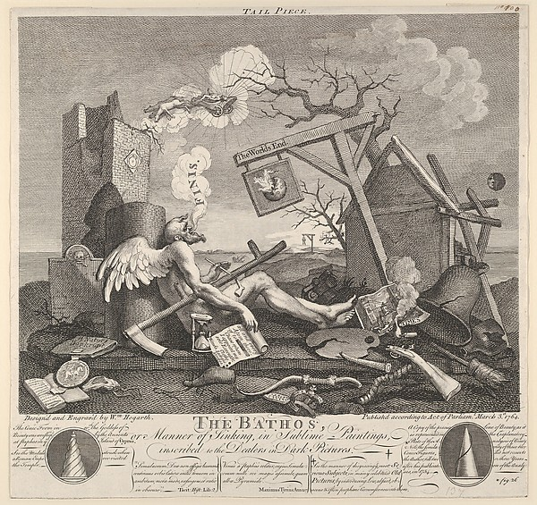 Fascinating Historical Picture of William Hogarth with Tailpiece or The Bathos on 3/3/1764
