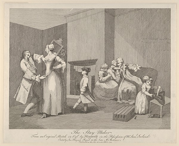 Fascinating Historical Picture of William Hogarth with The Stay-Maker on 2/1/1782