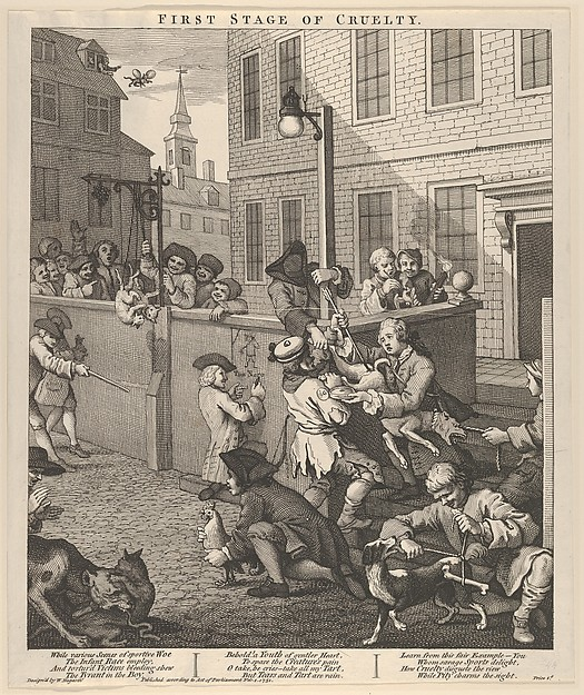 Fascinating Historical Picture of William Hogarth with The First Stage of Cruelty (The Four Stages of Cruelty) on 2/1/1751