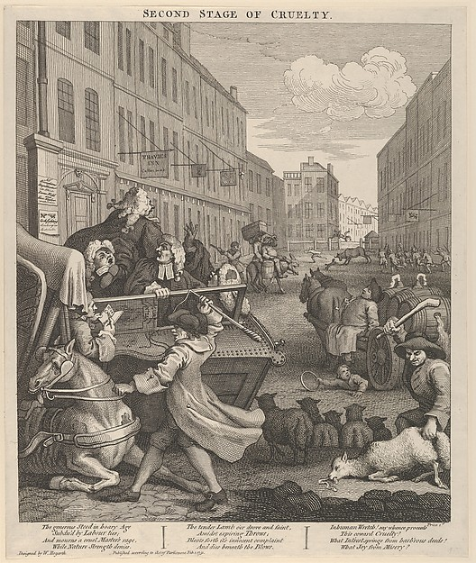 Fascinating Historical Picture of William Hogarth with The Second Stage of Cruelty (The Four Stages of Cruelty) on 2/1/1751