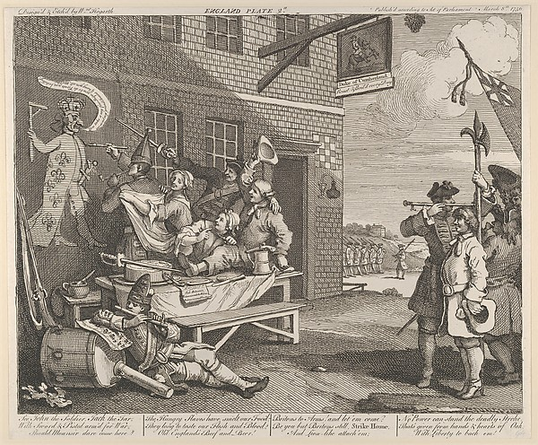 Fascinating Historical Picture of William Hogarth with The Invasion Plate 2| England on 3/8/1756