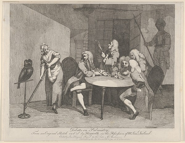 This is What William Hogarth and Debates on Palmistry Looked Like  on 2/1/1782