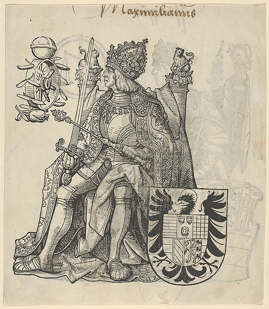 Fascinating Historical Picture of Hans Burgkmair with Recto of a Sheet with Maximilian from The Genealogy of Emperor Maximilian I in 1509
