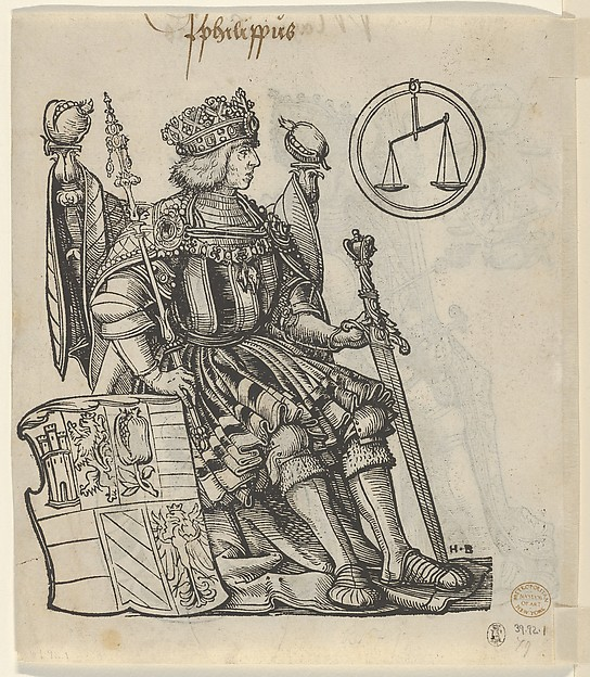 Fascinating Historical Picture of Hans Burgkmair with Verso of a Sheet with Philip the Belle from The Genealogy of Emperor Maximilian I in 1509