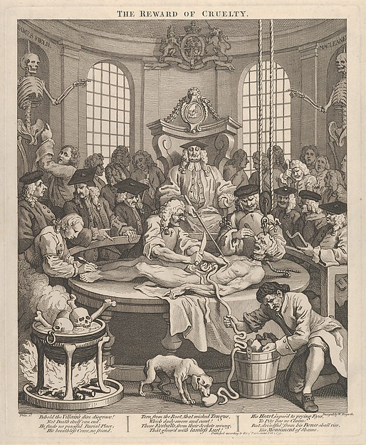 Fascinating Historical Picture of William Hogarth with The Reward of Cruelty (The Four Stages of Cruelty) on 2/1/1751