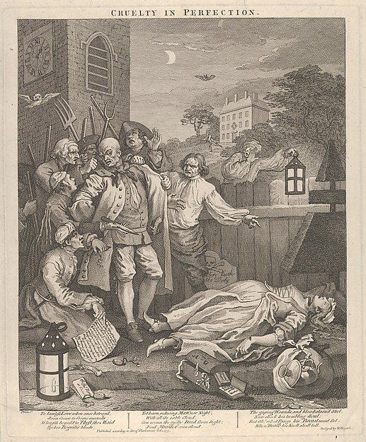 Fascinating Historical Picture of William Hogarth with Cruelty in Perfection (The Four Stages of Cruelty) on 2/1/1751