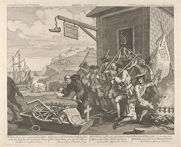 Fascinating Historical Picture of William Hogarth with The Invasion Plate 1| France on 3/8/1756