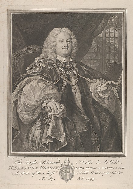 Fascinating Historical Picture of William Hogarth with The Right Reverend Father in God Dr. Benjamin Hoadly Lord Bishop of Winchester Prelate of the Mos in 1743