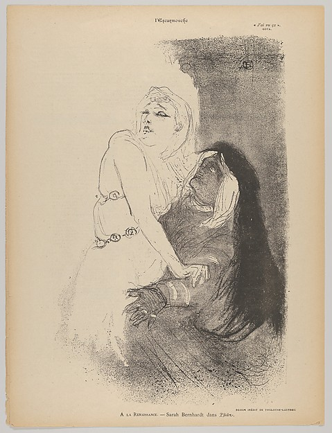 This is What Henri de Toulouse-Lautrec and At the Thtre de la Renaissance|  Sarah Bernhardt in Phdre Looked Like  in 1893