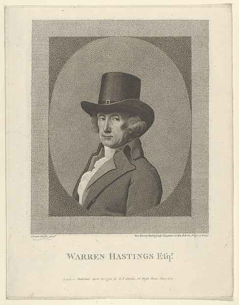 Fascinating Historical Picture of George Townley Stubbs with Portrait of Warren Hastings Esq. on 4/30/1795
