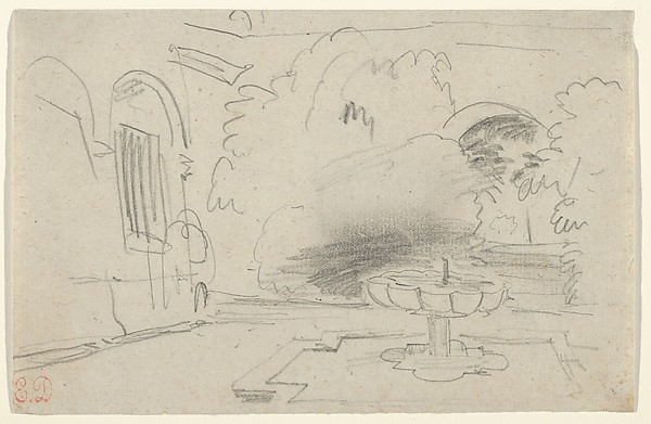 Fascinating Historical Picture of Eugne Delacroix with Courtyard with a Fountain Spain on 5/15/1832