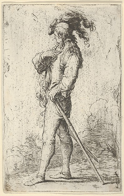 Figurina: Variant of Soldier in Profile with a Sword and a Cane, Facing Right
