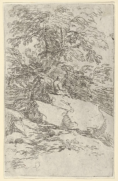 Landscape with a figure seated on a rock