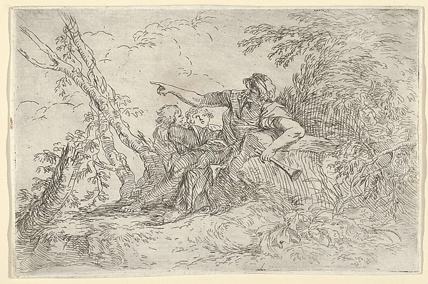 Shepherd with a Flute and Two Other Figures