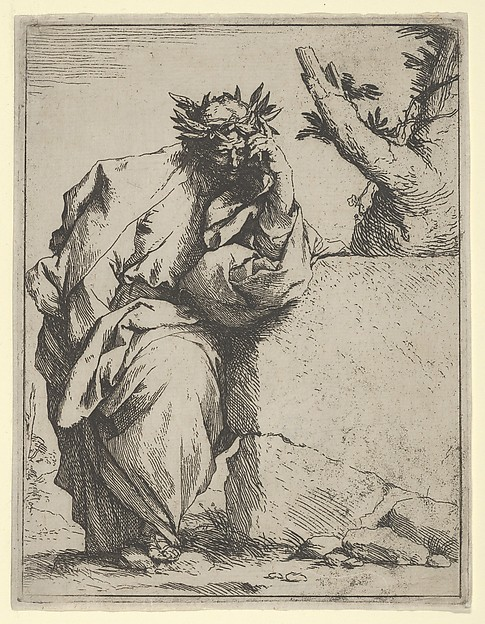The poet, standing half-length, leaning on a stone, crowned with laurel