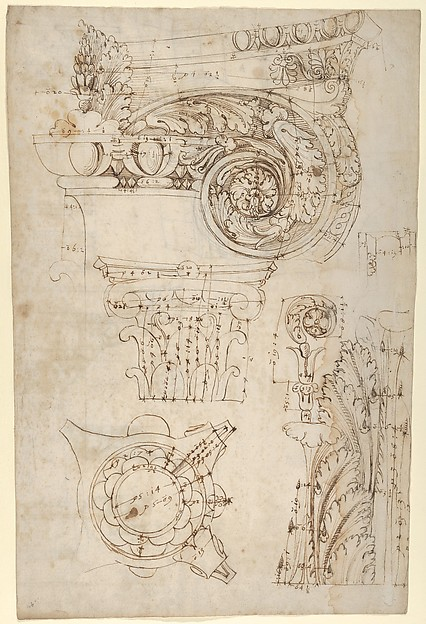 Composite capital, plan, elevation, and details; frieze, detail (recto) Forum of Nerva, entablature and attic, profiles; portico, perspective, and cornice, profile (verso)