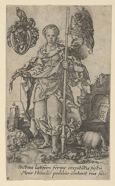 Fascinating Historical Picture of Heinrich Aldegrever with Modesty from The Virtues in 1552