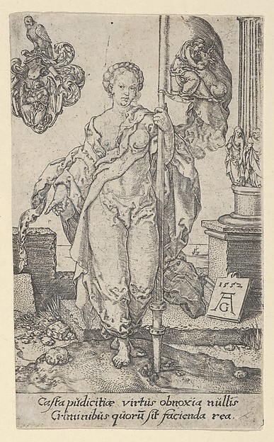 Fascinating Historical Picture of Heinrich Aldegrever with Chastity from The Virtues in 1552