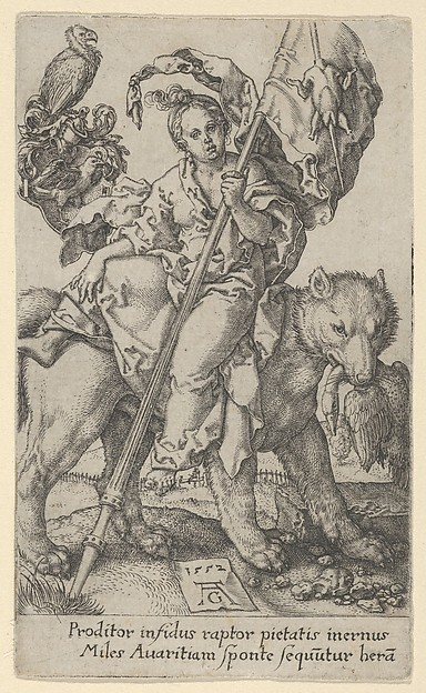 Fascinating Historical Picture of Heinrich Aldegrever with Avarice from The Vices in 1552