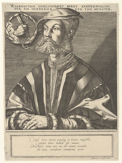 Fascinating Historical Picture of Clement de Jonghe with Copy of Bernt Knipperdolling in 1536