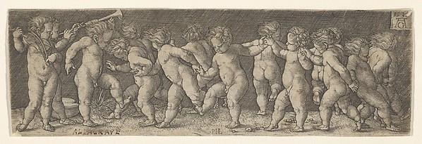 Fifteen Nude Children Dancing