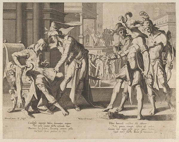 Cambyses Commanding the Flaying of the Judge Sisamnes, from Thronus Justitiae, tredecim pulcherrimus tabulis..., plate 6