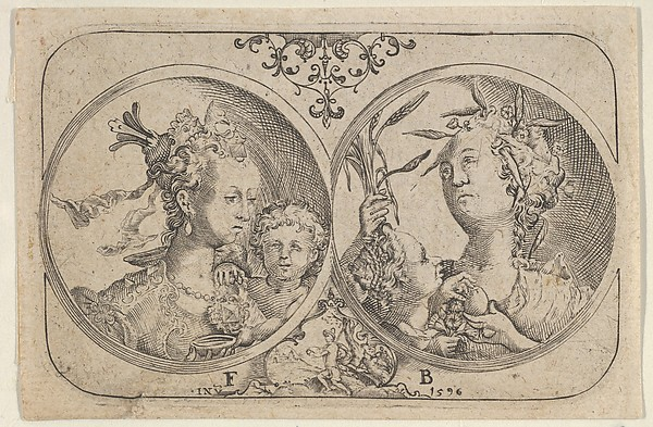 Fascinating Historical Picture of Floris Balthasarsz van Berckenrode with Horizontal Panel with Two Medallions Containing Cupid in 1596