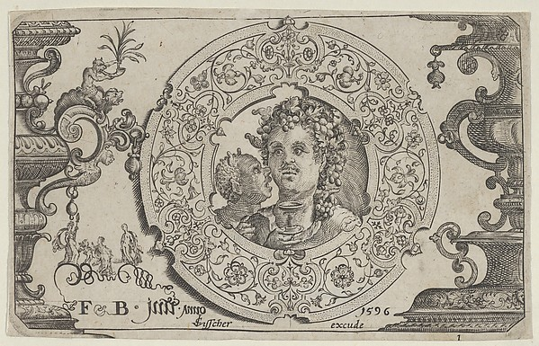 Fascinating Historical Picture of Claes Jansz. Visscher with Horizontal Panel with Bacchus in a Medallion in 1596