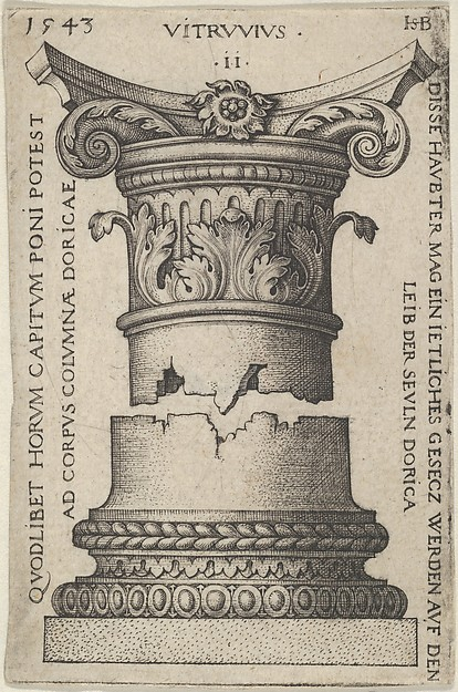 Fascinating Historical Picture of Sebald Beham with Capital and Base of a Column in 1543
