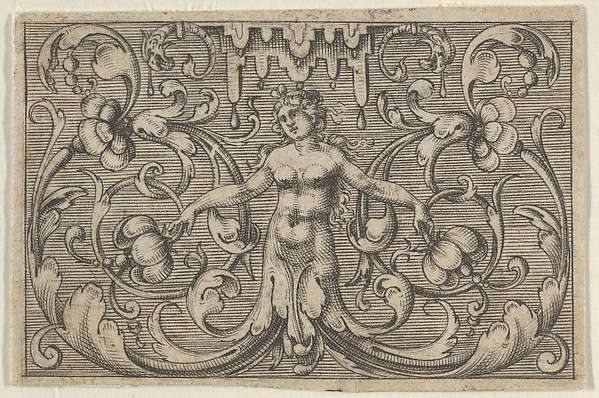 Fascinating Historical Picture of Paul Birckenhultz with Horizontal Panel with a Female Figure with Leaves as Legs from Varii Generis Opera Aurifabris Neces in 1600